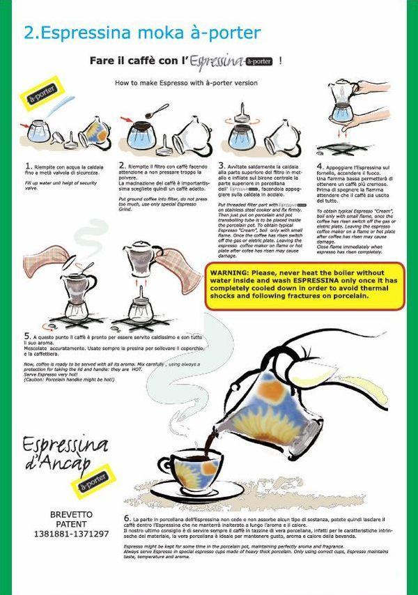 Ancap Informationen zur Verwendung des Espressokochers Classic mit Porzellanaufsatz und Schraubgewinde.