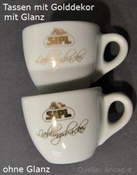 Ancap Tassen mit Golddruck in Real Gold mit Glanz und ohne Glanz.