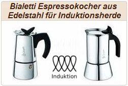 Informationen zu italienischen Edelstahl-Espressokochern von Bialetti.