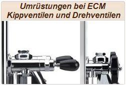 Umrüstungen bei ECM Drehventilen und ECM Kippventilen.