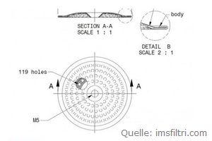 IMS Dusche 51,5 mm CI 35 WM (119 Löcher 2mm) (IMS CI 35 WM) bestellen.