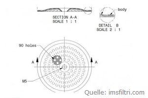 IMS Duschensieb 35 µm mit 55 mm Durchmesser (IMS GA 35 WM).