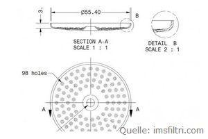 IMS Duschensieb 200 µm mit 55,4 mm Durchmesser (IMS SI 200 IM).