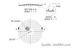 IMS Duschensieb 35 µm mit 48 mm Durchmesser (IMS SM 35 WM).