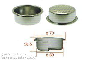 IMS Präzisionssieb 2 bzw. 3 Tassen für 18/22 gramm Höhe 28,5 mm.