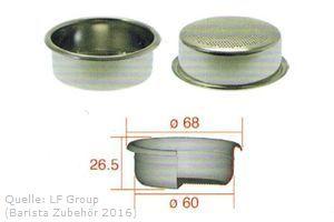 IMS Präzisionssieb 2 Tassen für 16/22 gramm Höhe 26,5 mm.