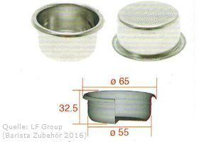 IMS Präzisionssieb 2 bzw. 3 Tassen für 18 gramm Höhe 32 mm.