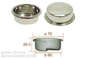 IMS Präzisionssieb 2 Tassen für 16/20 gramm Höhe 26 mm.