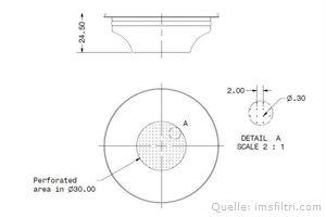 IMS Präzisionssieb 1 Tasse für 6/8 gramm Höhe 24,5 mm.