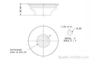 IMS Präzisionssieb 1 Tasse für 7/9 gramm Höhe 26,5 mm.