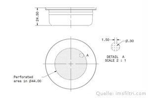 IMS Präzisionssieb 2 Tassen für 12/18 gramm Höhe 24,5 mm.