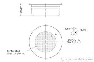 IMS Präzisionssieb 2 bzw. 3 Tassen für 16/20 gramm Höhe 26,5 mm.