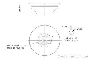 IMS Präzisionssieb 1 Tasse für 6/9 gramm Höhe 24,5 mm.