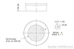IMS Präzisionssieb 2 Tassen für 14/18 gramm Höhe 26 mm.