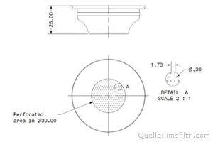 IMS Präzisionssieb 1 Tasse für 6/9 gramm Höhe 25 mm.