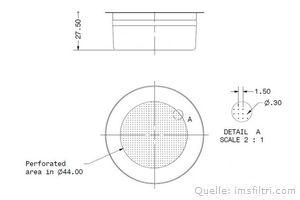 IMS Präzisionssieb 2 Tassen für 12/18 gramm Höhe 27,5 mm.