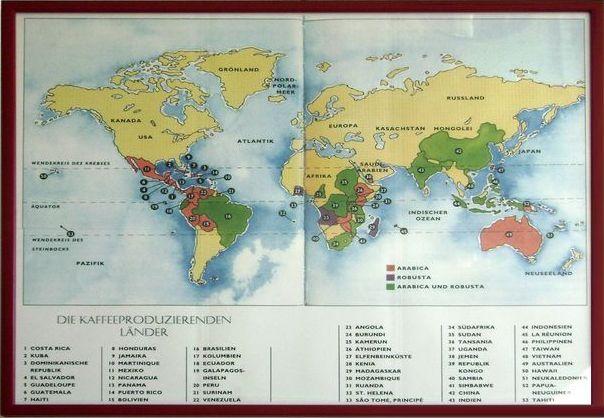 Kaffeeanbauländer der Erde.